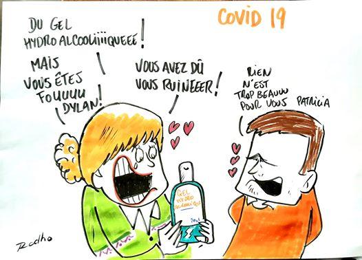 dessin humoristique présentant le gel hydroalcoolique comme un cadeau précieux